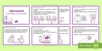 Provocări informatice - Cartonașe - informatică, română, tastatură, it, computer, calculator, materiale, planse, provocări informat