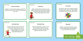 Parachute Games Activity Cards - Primary School Parachute Game Prompts