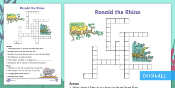 Ronald the Rhino Crossword - Twinkl fiction, Clue, Solve, Find, Word or phrase, Story