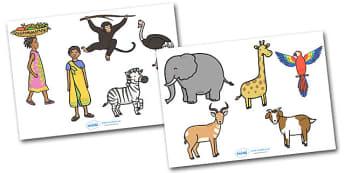 Handa's Surprise Stick Puppets - Handa's Surprise, Eileen Browne, resources, Handa, Akeyo, mango, guava, Africa, avacado, passion fruit, monkey, African animals, story, story book, story book resources, story sequencing, story resources, stick puppet