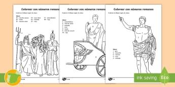 Fichas de actividad: Colorear con números romanos - numeración romana, números romanos, colorear, pintar, pinta, colorea, colores, plástica, mates, m