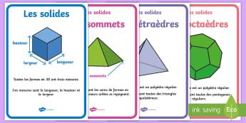Posters : Les caractéristiques des solides - Mathématiques, solide, géométrie, espace, cycle 2, cycle 3, affiche, 3D,French