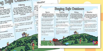 Keeping Myself Safe Outdoors Display Poster- outside, safety, dangers, keeping, woods, nature, road, sports, cycling, equipment,