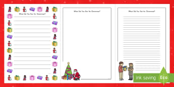 What Did You Get for Christmas? Writing Frames - Christmas