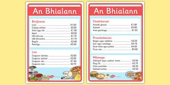 An Bhialann The Restaurant Role Play Menus Irish Gaeilge - restaurant, bialann, an bhialann, food, bia, role play, Aistear, menu, display, resource pack, irish, gaeilge, comhra, menus, biachlar, biachlair