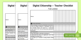 Digital Citizenship Teacher Checklist