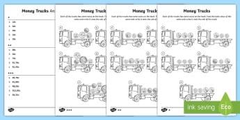 Money Trucks Differentiated Activity Sheets - trucks, transportation, money, cents, adding, currency, South Africa