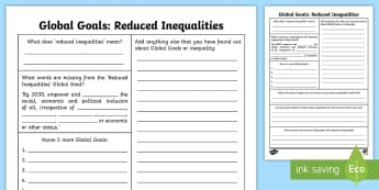 Global Goals Reduced Inequlity Fact File - Learning For Sustainability, UNICEF, GG10, Equality, Discrimination, Scottish, poverty, fairness