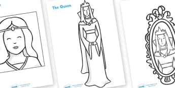 Snow White and the Seven Dwarfs Story Colouring Sheets - Snow White and the Seven Dwarfs, Snow White, Dwarfs, Seven Dwarfs, traditional tale, colouring, fine motor skills, poster, worksheet, vines, A4, display, tale, magic mirror, the queen, prince,