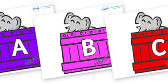 A-Z Alphabet on Elephants (Crates) to Support Teaching on Dear Zoo - A-Z, A4, display, Alphabet frieze, Display letters, Letter posters, A-Z letters, Alphabet flashcards