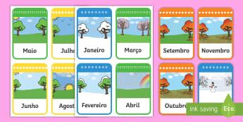 Cartões dos meses do ano - dia, semana, mes, dias, semanas, meses, ano, anos, tempo, estacao, estacoes, gestao, sala de aula, c
