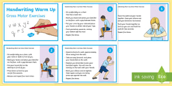 KS2 Gross Motor Handwriting Warm Up Exercises Information Cards - KS2 Handwriting day 23rd Jan 2017, handwriting skills, gross motor skills, fine motor skills, core s