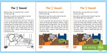 Northern Ireland Linguistic Phonics Stage 5 and 6 Phase 3a, 'j' Sound Activity Sheet - Linguistic Phonics, Phase 3a, Northern Ireland, 'j' sound, sound search, text, Worksheet