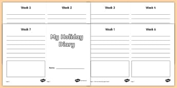 My Holiday 7 Week Diary Writing Frame - my holiday, 7 week diary writing frame, 7 week diary, writing frame, diary, journal, seven week, planner, my diary, booklet, page border, writing template, holidays, record, activity, filling in