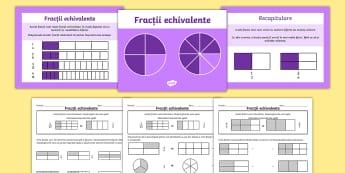 Fracții echivalente PowerPoint cu fișe de lucru - fracții, fracții echivalente, română, matemaică, pachete de lecții, fracțiile, fracție echiv