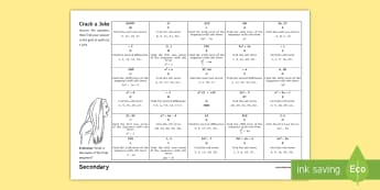 Finding the nth Term of a Quadratic Sequence Activity - Ada Lovelace, quadratic, sequence, nth, algebra, patterns