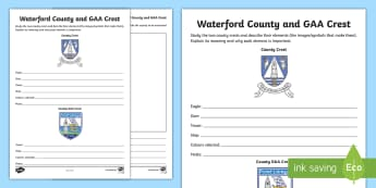 Waterford County and GAA Crest Activity Sheet - football, hurling, championship, worksheet, coat of arms, sport
