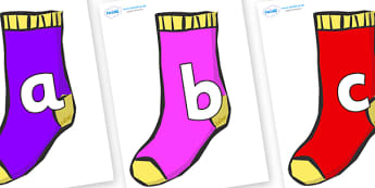 Phoneme Set on Socks - Phoneme set, phonemes, phoneme, Letters and Sounds, DfES, display, Phase 1, Phase 2, Phase 3, Phase 5, Foundation, Literacy