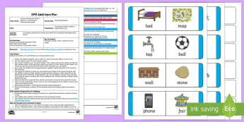 EYFS Rhyming Dominoes Adult Input Plan and Resource Pack - Phase 1, Aspect 4, Rhythm, Rhyme, letters and sounds, phonics, phonemes, rhyme, sounds the same, mat