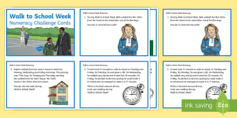 CfE Second Level Walk to School Week Numeracy Challenge Cards - CfE Walk to School Week 2017 (15th-19th May) JRSO, Second Level, 2nd level, Challenge cards, Walk to