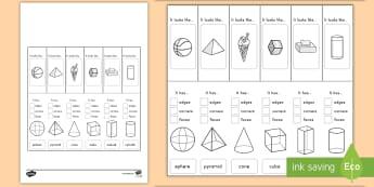 3D Shape Properties Interactive Visual Aid  - 3D, shapes, visual aids, flashcards, shape properties
