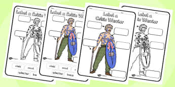 Label a Celtic Warrior Worksheet - label a celtic warrior, celts, warrior, celtic warrior, worksheet, celts worksheet, history, history worksheet