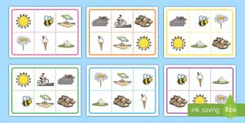 Sommer Bingo/Lotto Spiel - Sommer, Jahreszeiten, Bingo, Deutsch, Wörter, Kindergarten/Kl.1, summer, seasons, bingo, German, wo