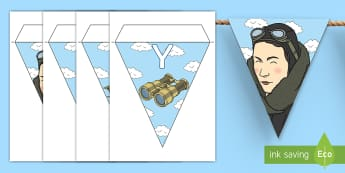 Amy Johnson Display Bunting - Amy Johnson Significant Individual Learning Pack - amy johnson, bunting, flags, display, aviator, pi