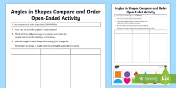 Angles in Shapes Compare and Order Open-Ended Activity Sheet - Australian Curriculum Geometry and Measurement, year 3, maths, angles, angle, compare angles, order
