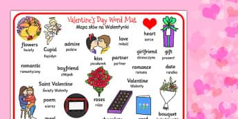 Valentines Day Word Mat Polish Translation - polish translation
