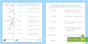 Community Helpers Matching Activity Sheet - worksheet, Labor Day, Labor, Community Helpers, Jobs, Grow up,