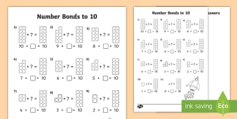 Number Shapes Number Bonds to 10 Activity Sheet - Number Shapes Number Bonds to 10 Activity Sheet -  maths, number bonds, 10, ten, adding, numicon, ca