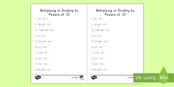 Multiplying or Dividing by Powers of 10 Activity Sheet - multiplication, division, powers of 10, exponents, decimals, 5th grade, worksheet