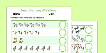 Farm Animals Counting Worksheet up to 20 - farm, animals, 1-1, one to one,  counting, worksheet, 20