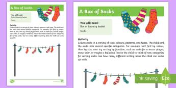 A Box of Socks Activity - sort, colour, size, Shape, long, short, socks, feet
