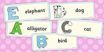 Animal Alphabet Drawer Peg Labels - animal, alphabet, drawer, peg, name, labels