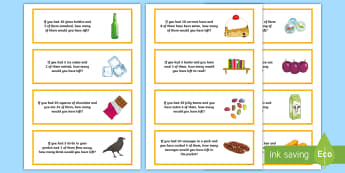 Subtraction Word Problem Word Cards - numeracy, subtraction, addition, basic, SEN