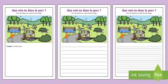 Supports imagés pour la production d'écrits : Au parc - Écriture, Écrire, Français, Cycle 2, Cycle 1, parc