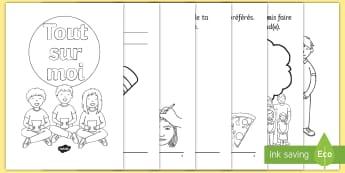 Livret d'activités : Tout sur moi - Rentrée, informations, renseignements, personnel, élève, cycle 1, moi, me,French