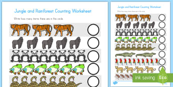 Jungle and Rainforest Counting Activity Sheet - counting, math, numeracy, jungle, rainforest, activity sheet, worksheet