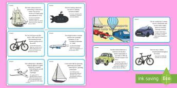 Amazing Transport Fact Cards English/Spanish - Transport Display Fact Cards - transport, display, fact, cards, trasnport, vehicle wall display, tra