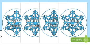 Winter Words on Snowflakes Display Posters English/French - Snowflake, display, poster, posters, snow, winter, frost, cold, ice, display words, EAL French,Frenc