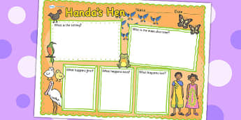 Handas Hen Book Review Writing Frame - handas hen, book review, writing frame, book review writing frame, writing aid, writing template, writing, literacy