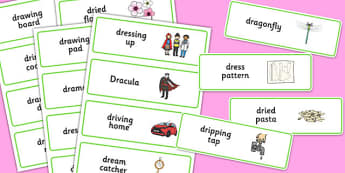 Three Syllable DR Word Cards - speech sounds, phonology, articulation, speech therapy, cluster reduction, clusters, blends