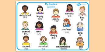 My Emotions Word Mat Chinese Mandarin Translation - mandarin, Word mat, writing aid, emotions, Feelings, All about me, ourselves, feelings display, feelings banner, emotions display, expression, happy, sad, angry, scared