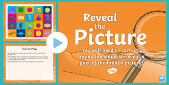 Shape Names (2D and 3D) Reveal the Picture Plenary Activity - interactive, starter, sides, corners, vertices, faces, pyramid