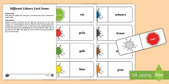 Different Colours Card Game German - German Games, German Activities, German colours, German card games.,Scottish-translation