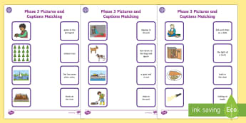 Middle East Phase 3 Pictures and Captions Activity Sheets - Literacy, Phonics, letters and sounds, UAE, Dubai, Abu Dhabi, sounds, KS1, Bahrain, Worksheets