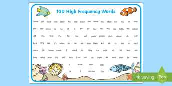 Fish Themed 100 High Frequency Words Word Mat - fish, 100 high frequency words, 100, high frequency words, high frequency, words, word mat