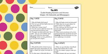 Guided Reading Questions Chapter 10 to Support Teaching on The BFG - reading aid, roald dahl